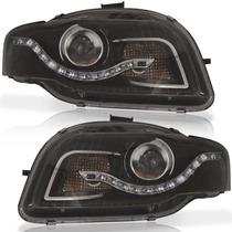 Par Farol Daylight Audi A4 Led 2007 Á 2012 Máscara Negra