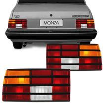 Par Lanterna Traseira Monza 88 89 90 Tricolor Friso Preto