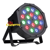 Refletor Led Par 64 Rgb 18 Leds 1w Display Digital Strobo