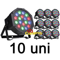 Kit 10 Refletor Led Par 64 Rgb 18 Leds 1w Strobo Digital