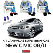 Kit Lâmpadas Super Brancas Tech One New Civic Hb3 Hb4 H8