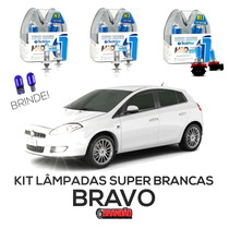 Kit Lâmpadas Super Brancas Tech One Fiat Bravo H1 + H1 + H11