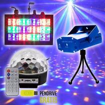 Kit Dj Festa Iluminação Strobo Bola Maluca Laser + Pendrive