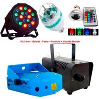 Kit Iluminação Máquina F Laser Lâmpada Bola Led Par + Fluído