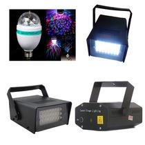 Kit Iluminação 2 Strobo 1 Laser 1 Bola Maluca Frete Grátis