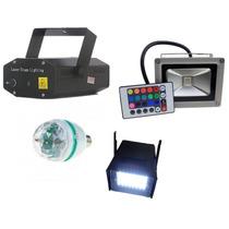 Kit Iluminação Dj Festa 4x1 Refletor Mini Laser Strobo Bola