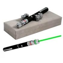 Caneta Laser Pointer Verde Green Alcance 8 Km - 5 Ponteiras