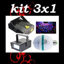 Kit Festa Iluminação 1 Laser 2 Strobo 1 Bola Maluca Led
