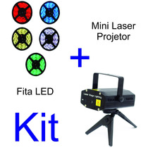 Mini Laser Projetor Holográfico + Fita Led 3mm Dupla Face