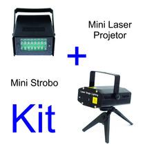 Mini Laser Projetor Holográfico + Mini Strobo Led Com Efeito