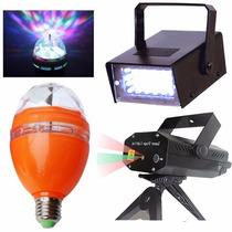 Kit Show Festa Iluminação Strobo Projetor Laser Bola Maluca