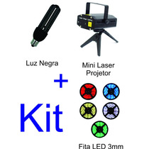 Mini Laser Projetor + Luz Negra 28w + Fita Led 3mm 12v
