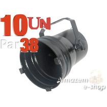 Kit 10 Unidades Canhão Refletor Par 38 Preto Porta-gelatina