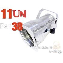 Kit 11 Unidades Canhão Refletor Par 38 Polido Porta-gelatina