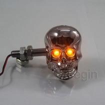 Lanternas Piscas Par Caveira Cromada Moto Chopper Custom
