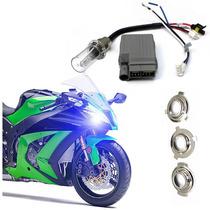 Kit Bi Xenon Moto H6 H4-3 P15d S2 Reator Slim 8000k Hid Biz