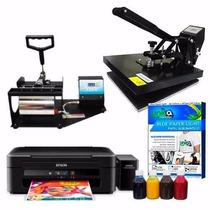 Kit Prensa Caneca + Plana 38x38 + Impressora Epson + Brindes