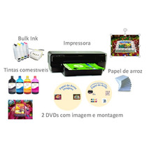 Kit Papel De Arroz Hp 7110 A3 + Bulk Ink + 400ml De Tinta