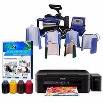 Kit Prensa De Canecas 6x1 Com Impressora Epson L220 & Folhas