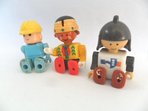 Índio Soldado E Operário Construtor Boneco Do Tipo Playmobil