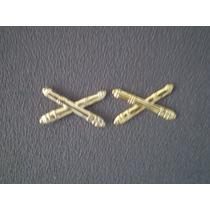 Distintivo Dourado De Gola Material Bélico (par)
