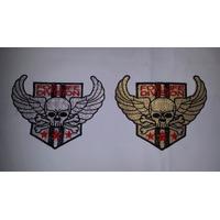 Patches Bordados De Caveira C/ Asas Moto Motociclista Harley
