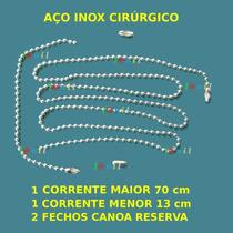 Correntes De Bolinha Para Dog Tag Aço Inox + 2 Fechos Canoa