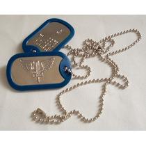 Placa Identificação Dog Tag Aeronautica Fab Militar Azul