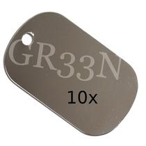 10 Placas Identificação Aço Inox P/ Dog Tag ( Lisa )