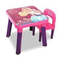 Mesa Infantil C/ Cadeira Da Barbie Rosa Mattel
