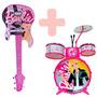 Kit Musical Infantil Guitarra Luxo E Bateria Barbie Menina