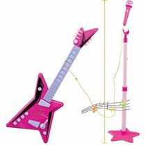 Guitarra Rosa Infantil C/ Microfone E Pedestal Musikids
