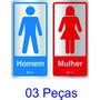 Placa Sinalização Alumínio Adesiva Sanitário Banheiro 03 Pçs