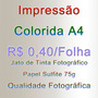 A4 Impressão Colorida Sulfite 75g - 200 Folhas Frete Grátis