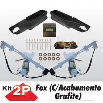 Kit Vidro Eletrico Fox 2 Portas Sensorizado Grafite