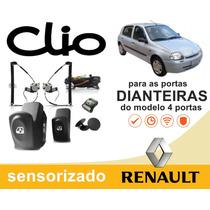 Kit Vidro Elétrico Sensorizado Clio 2002 Dianteiras Do 4p