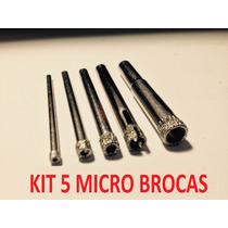 Kit 5 Micro Brocas Diamantadas Serra Copo, Vidro, Jóias, Art