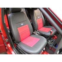 Capas Automotivas De Couro Courvi P/ Fiesta Preto E Vermelho