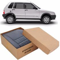 Kit Capas De Banco 100% Em Couro Padrão Fiat Uno Mille Way