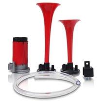 Buzina Ar 2 Cornetas Vermelha Com Inmetro Kit Completo