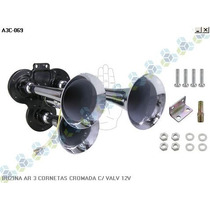 Buzina Ar 3 Cornetas Cromada Com Valvula 12v S/ Compressor