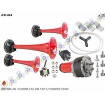 Buzina Ar 3 Cornetas Vermelha 12v C/ Compressor