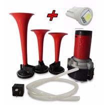 Buzina Ar 3 Cornetas Compressor Homologado Inmetro+ Brinde
