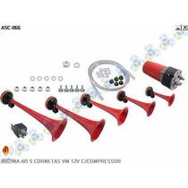 Buzina Ar 5 Cornetas Vermelha 12v C/ Compressor