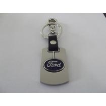 Chaveiro Ford, Logo, Prata, Couro, 3d.