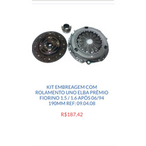 Kit Embreagem Uno Elba Prêmio Fiorino 1.5 1.6 Após 06/94