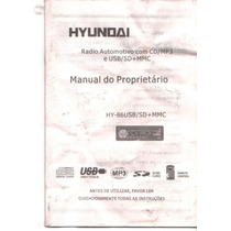 Manual Proprietario Som Dc Mp3 Hyundai Hy86usb/sd.mmc