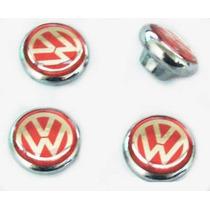 Botões Do Painel Fusca Cromados Com Logo Vw Vermelho 4 Peças