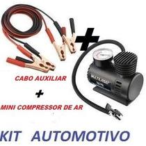 Mini Compressor De Ar + Cabo Auxiliar(kit Automotivo 2 Em 1)