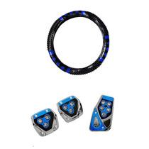 Kit Capa De Volante Preto Com Azul E Pedaleiras 3 Peças Azul
